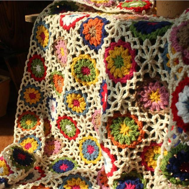 Nuevo Retro margarita hechos a mano de lana ganchillo dormir sofá ...