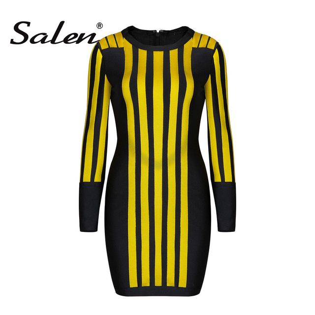 5733d21fc4 Salen 2017 New Winter Long Sleeve O Neck Black Yellow Striped Patchwork  Bandage Dress Women Bodycon Celebrity Runway