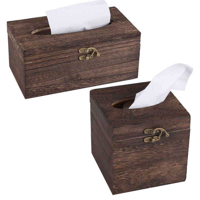 Paper Rack Wood Storage Tissue Box Car Home Rectangle Shaped Tissue Box Container Towel Napkin Tissue Dispenser Organizer Holder
