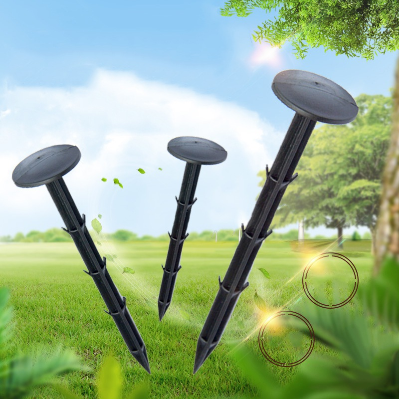 50Pcs Black Plastic Garden Stakes Anchors Nails For Plant Support, Ultralight Camping Tent Stakes,Lawn Edge,Game Net