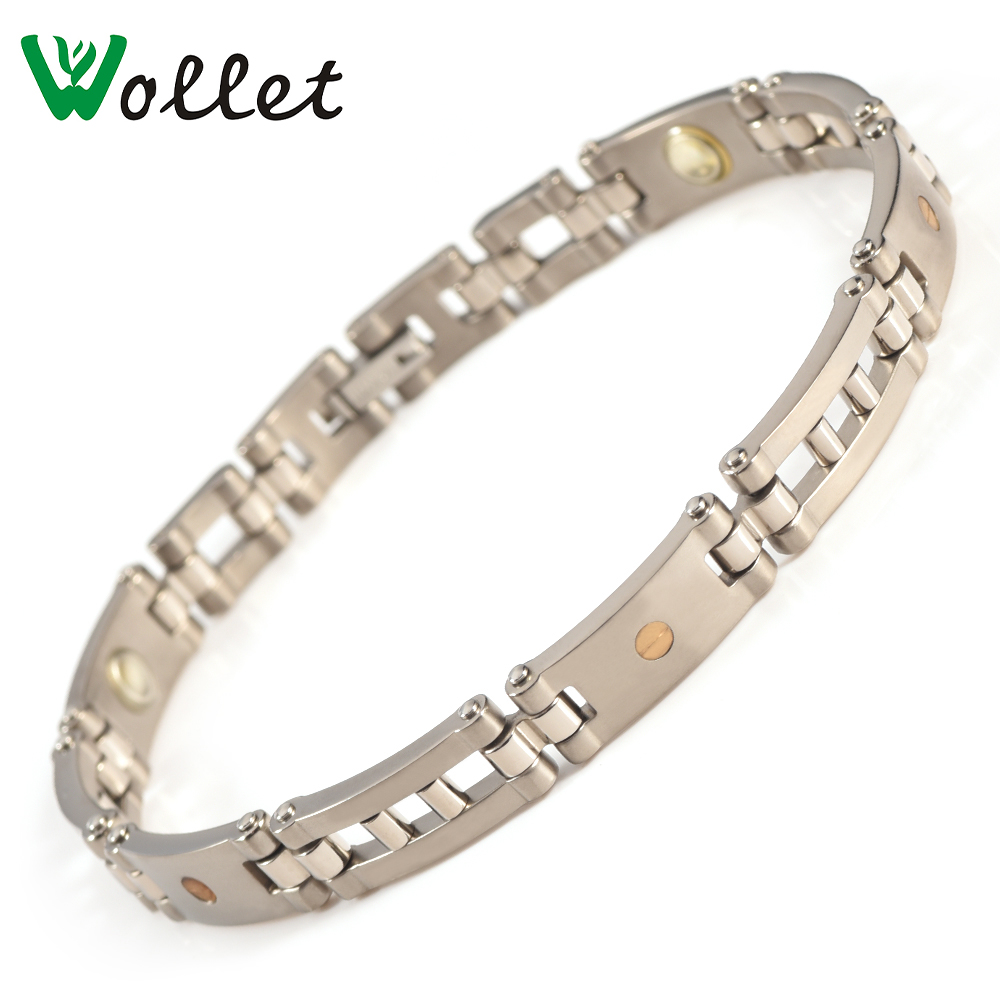 Wollet Jewelry Bio Magnetic Titanium Bracelet for Women Men Health Healing Energy Germanium Magnet in Chain Link Bracelets from Jewelry Accessories
