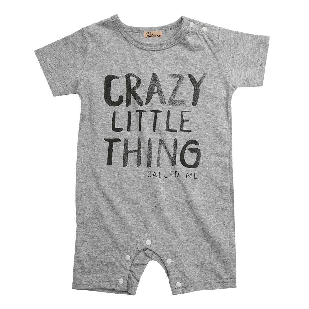 Для новорожденных Одежда для маленьких мальчиков и девочек ползунки письмо короткий рукав милые Комбинезоны для малышек комбинезоны наряды