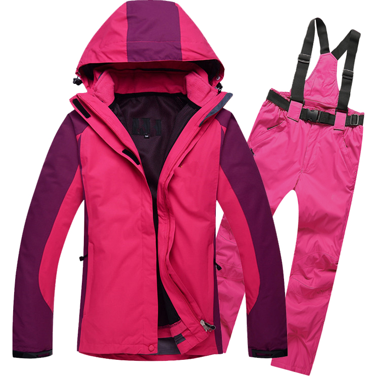 Women Ski Snow Suit Winter Windproof Hiking Camping Hooded Jacket Pant Snowboarding Suit Set men and women winter ski snowboarding climbing hiking trekking windproof waterproof warm hooded jacket coat outwear s m l xl
