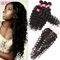 Peruvian Virgin Hair With Closure Curly Weave Human Hair Weaving With Closure Peruvian Virgin Hair Deep Wave With Closure