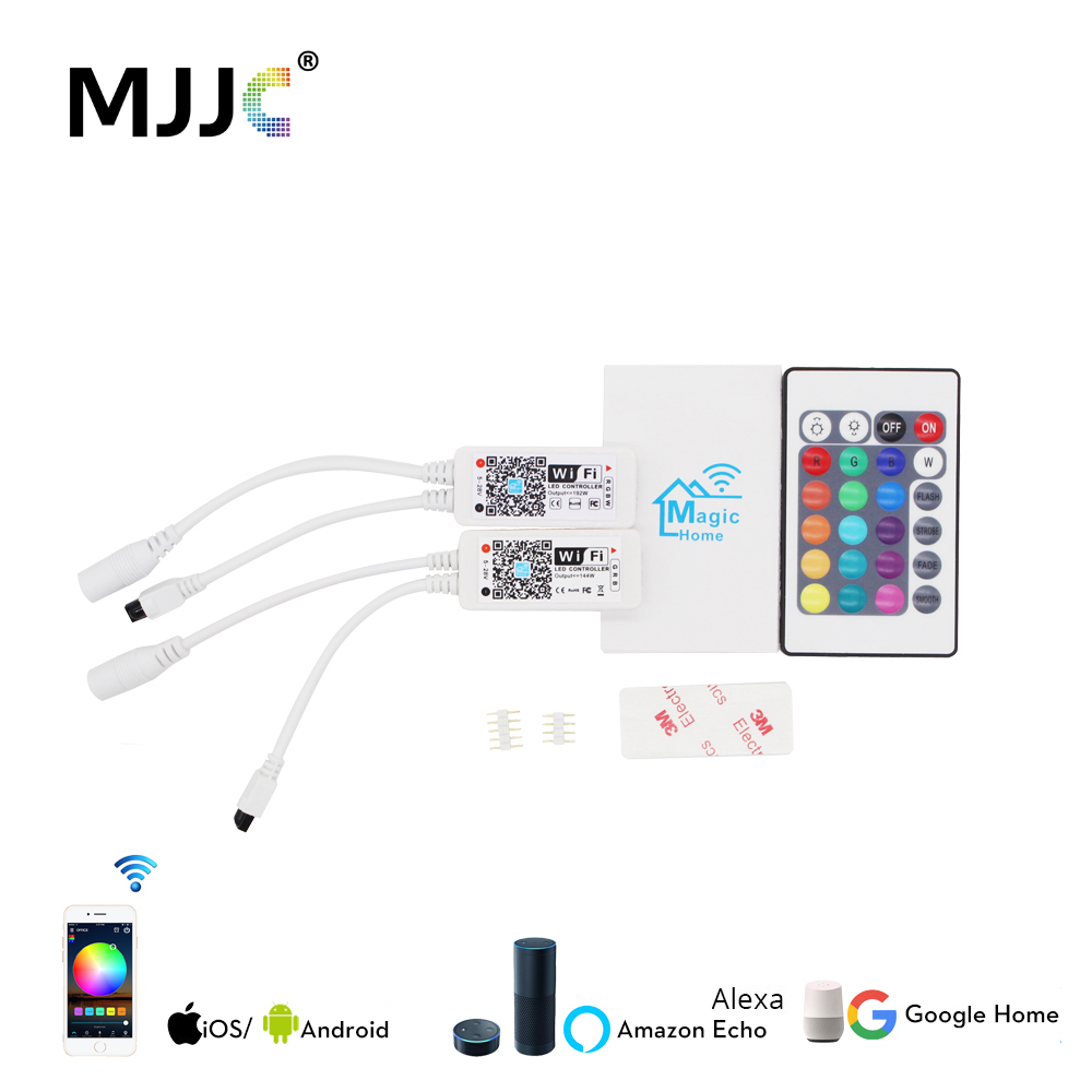 Wireless WIFI LED Controller RGB DC5-24V Bluetooth RGBW IR / RF Remote Control Google Home Mini For LED Strip RGBWW Controller