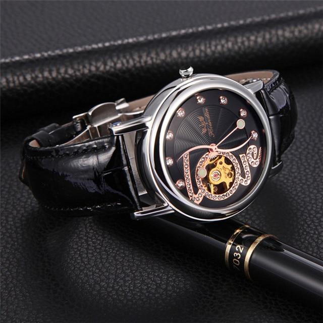 Perfect Gift  Women Fashion Leather Band Mechanical Watch Wrist Watch Jan7-17