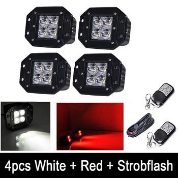 "4pcs 5"" White /Red Dual Color Strobeflash LED Work Light Bar Flush Mount Pods Offroad Spot/ Flood Beam RF Remote & Wiring kits"