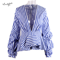 Puff Sleeve Blue White Stripe Blouse Shirts Ruffles Trim Women Sexy V Neck Summer Fashion New Tops Clothing Blusas Plus Size 5XL