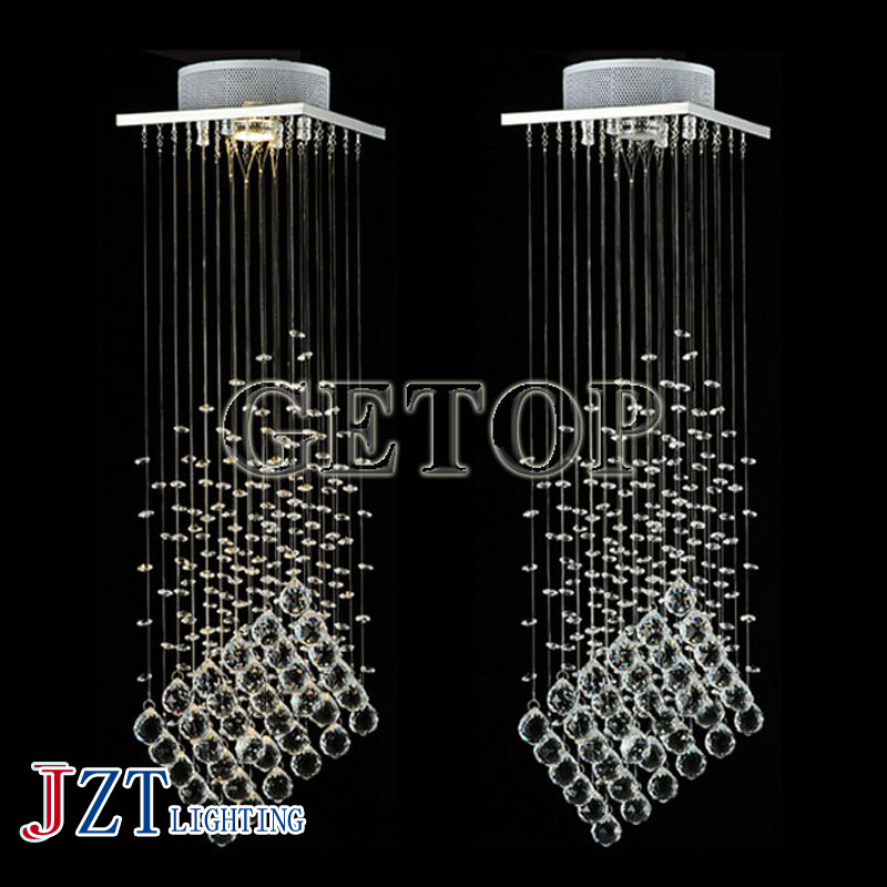 J Best price mordern k9 crystal LED droplight double entry stair lamps Square hall crystal lights living room dining room best price 5pin cable for outdoor printer