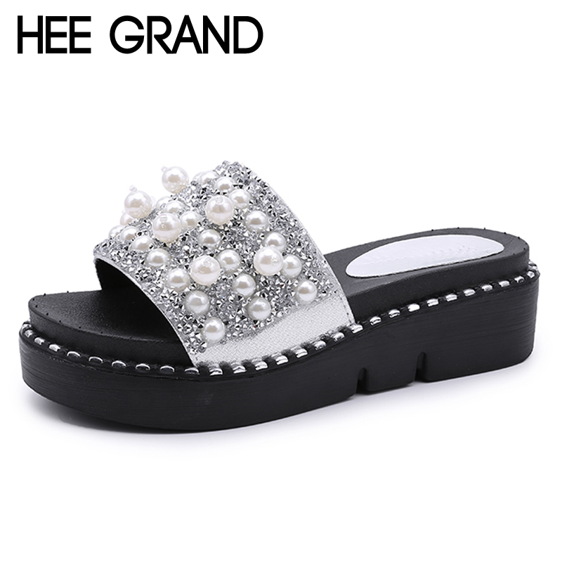 HEE GRAND Beach String Bead Slippers 2018 Flat with Slides Casual Platform Shoes Woman Slip On Bling Bling Creepers XWT1044 hee grand 2017 bowtie slippers platform sweet solid slides summer casual flats shoes woman slip on creepers xwt851