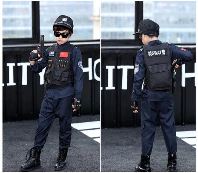 Tenue de fête garçon policier flambant neuf flic enfants enfant Halloween vente chaude Costume