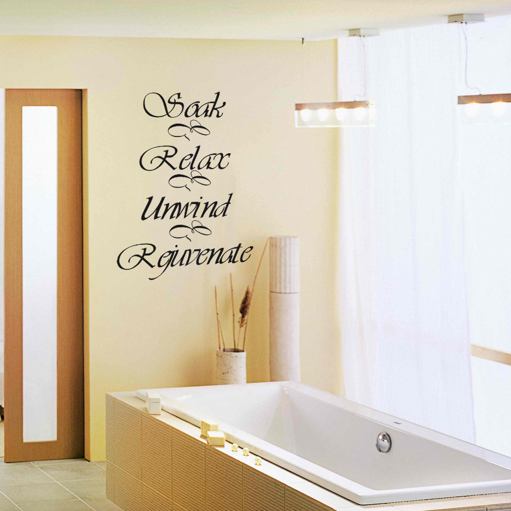 Bathroom wall decor stickers - Bathroom Wall Decal Quote Soak Relax Unwind Rejuvenate Bath Room Bath Tub Vinyl Art Sticker