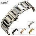 ZLIMSN Stainless Steel WatchBands Black Rolse Gold Silver Women Mens Bracelet Watch Strap 18mm 20mm 22mm relogio Replacement S17