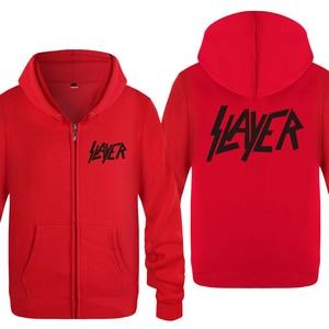 Image 3 - Slayer zespół rockowy bluzy mężczyzn 2018 mężczyzna zamek polar z kapturem swetry rozpinane