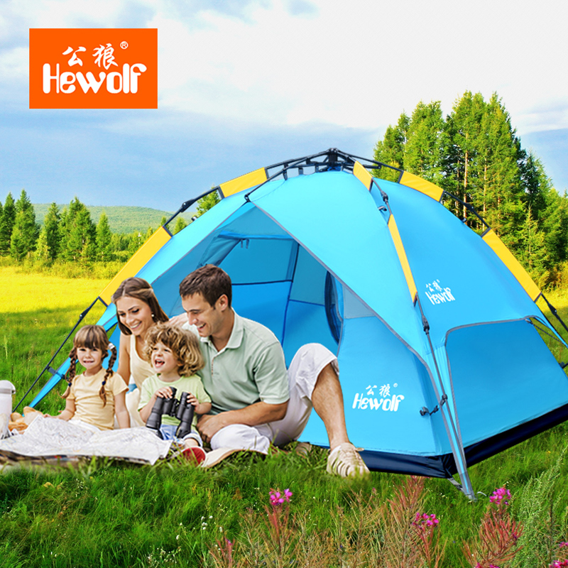 Hewolf Anti Heavy Rain Camping Equipment Tent Outdoor 3-4 People Double Layer Camping Automatic Tent Three-use Aluminum Bar