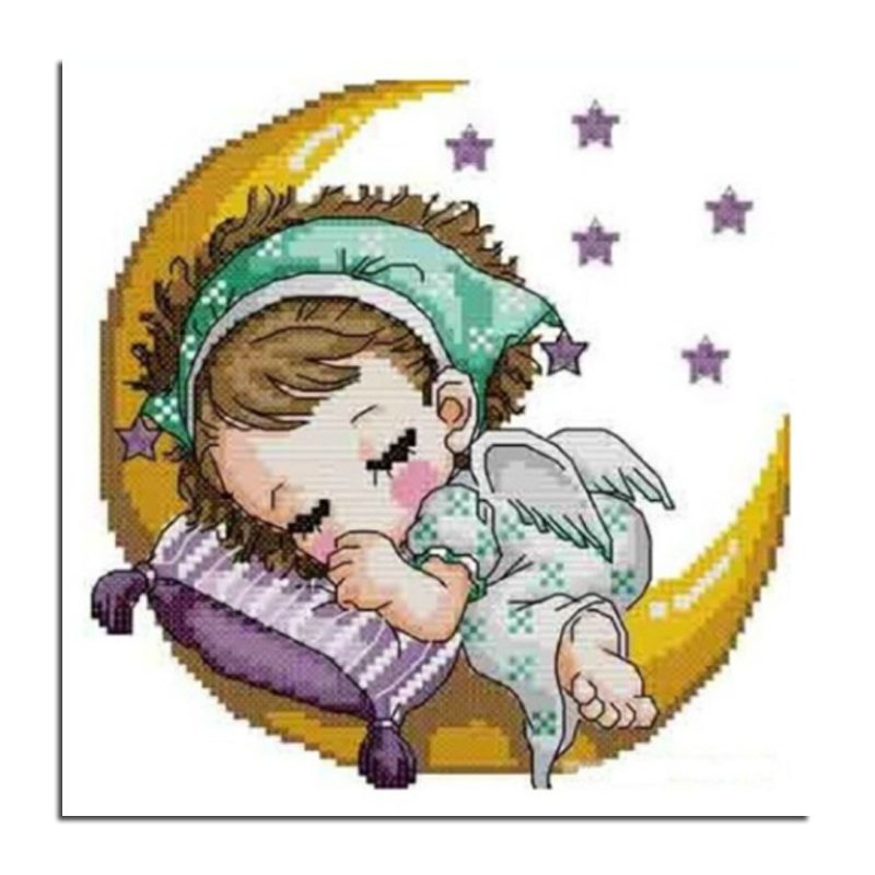 Moon baby girl 50x50 Diamond embroidery DIY diamond drawing The sitting room adornment with drill handmade cross-stitch with