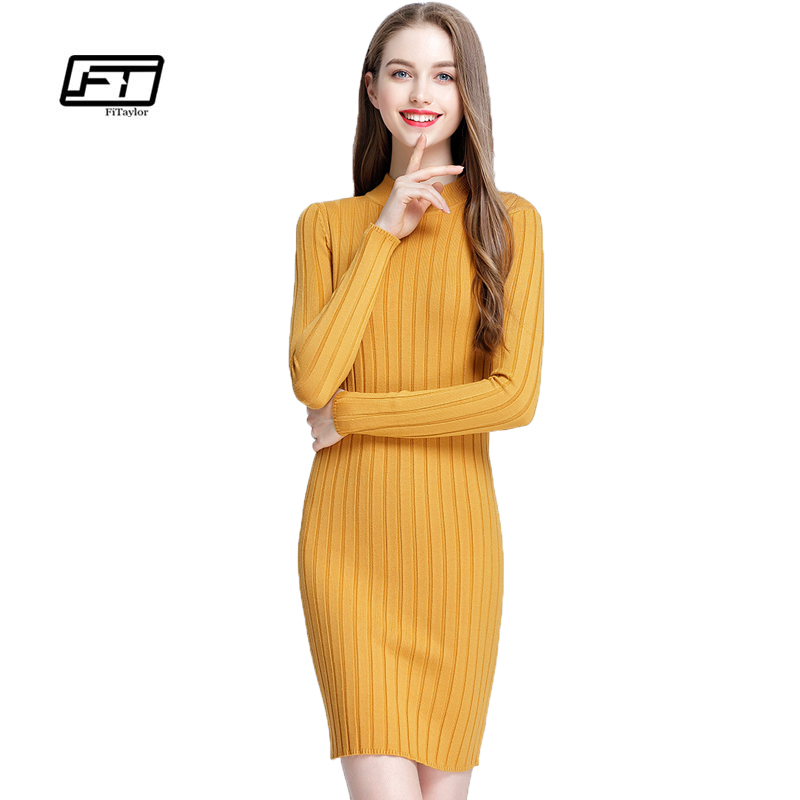 Fitaylor New Spring Autumn Women Knitting Dress Elegant Slim O Neck Long Sleeve Knitted Sweater Pullover