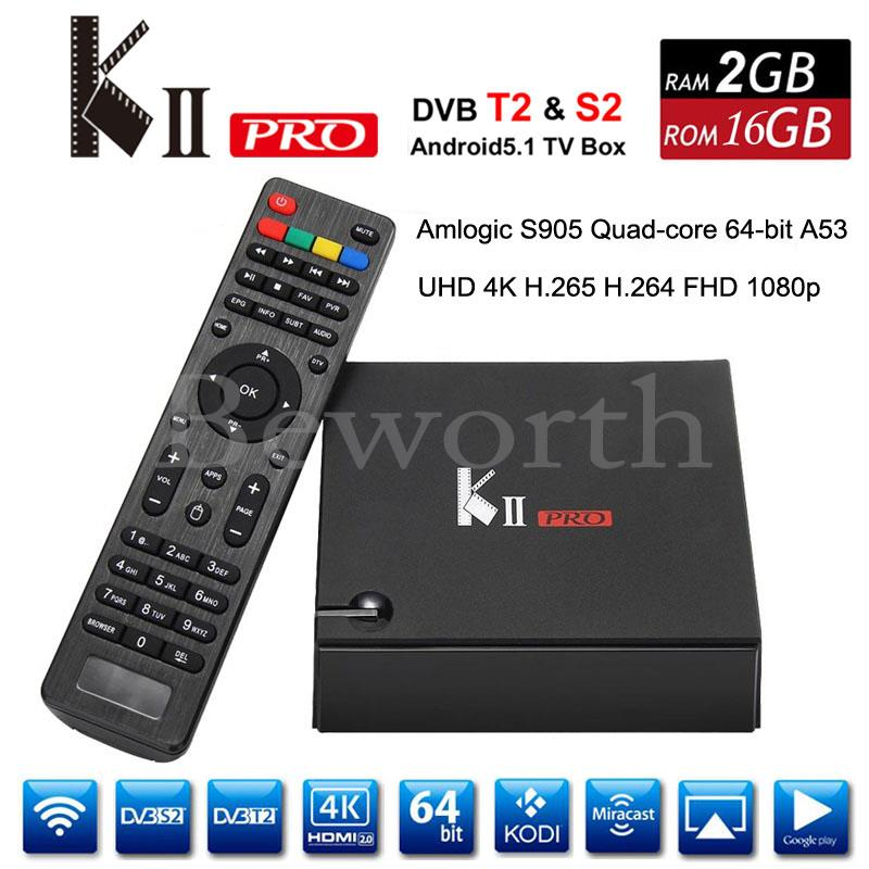 Genuine KII Pro Android DVB-S2 DVB-T2 TV Box 2GB 16GB Amlogic S905 Quad Core 2.4G 5G Wifi Bluetooth Smart Media Player i box rs232 dvb s satellite smart sharing nagra 3 dongle black