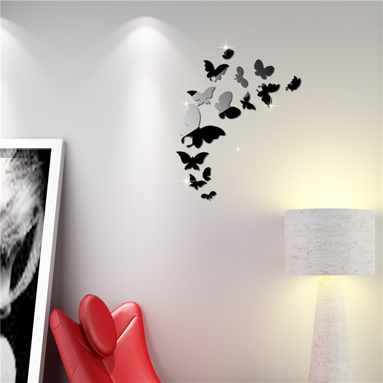 14pcs Butterfly Mirror Wall Decal Decoration Acrylic Mirror Butterfly Wall Stickers Removeable 3d diy Butterfly Decoration-in Wall Stickers from Home ... & 14pcs Butterfly Mirror Wall Decal Decoration Acrylic Mirror ...