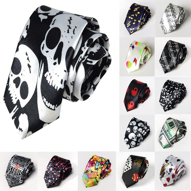 Korean Version Fashion Casual Tie 5cm British Skinny Slim Necktie Printing Skll Music Symbol Hip Hop Boys Novelty Accessories