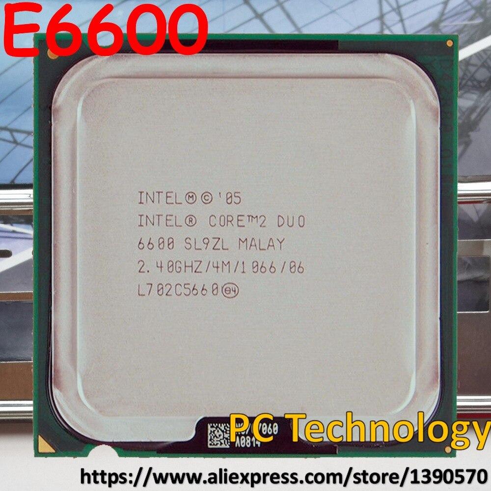 Intel Original E6600 Core 2 Duo Socket 775 процессор Процессор 2.40 ГГц 4 м 1066 мГц Бесплатная доставка Доставка в течение 1 день 100% Тесты хорошо