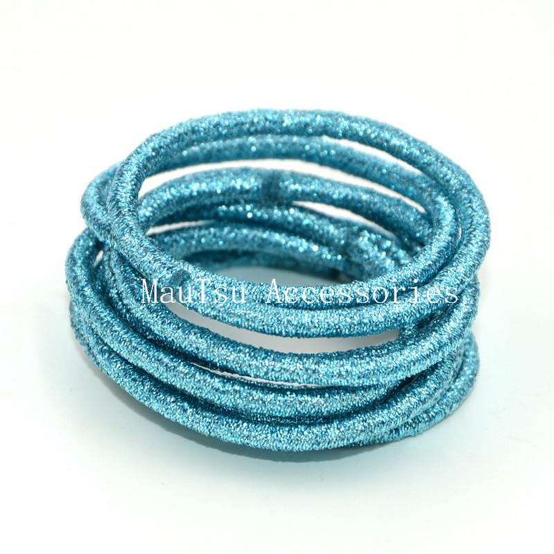 50pcs 4mm aqua blue glitter elastic