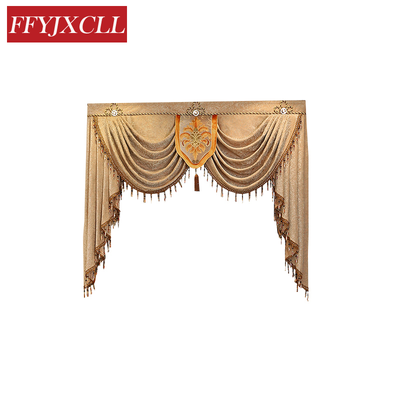 Finished Product Custom Made Pelmet Europe Luxury Valance Blackout Curtains for Living Room Window Curtains for