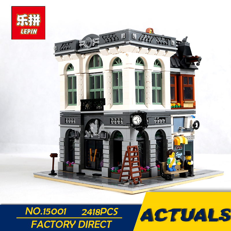 LEPIN 15001 2413PCS City Street Clone Brick Bank Building Blocks Toys Modular City Series Model Kids Gift Compatible with 10251 a toy a dream lepin 24027 city series 3 in 1 building series american style house villa building blocks 4956 brick toys