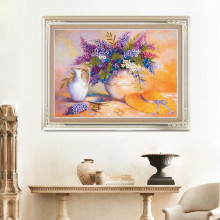 DIY 3D Ribbon Embroidery cross stitch kits sets simple handmade needlework/ Purple rosacea decor picture paintings