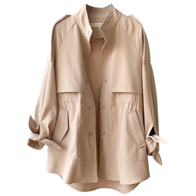 2019 Spring Autumn Women Single Breasted   Trench   Coat Lady Loose Elastic Waist Korean Casual Harajuku Long Coat Female Tops M185