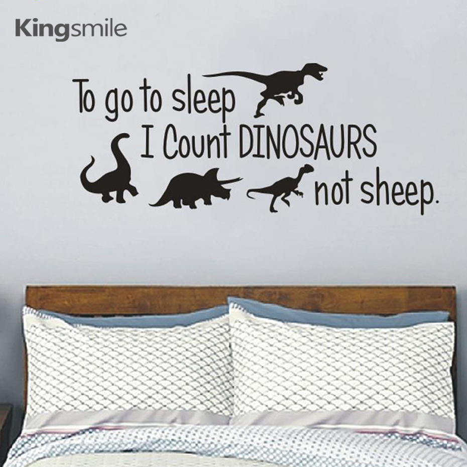 To go to sleep Quotes Dinosaurs Vinyls Wall Art Stickers Nursery Decals Poster Sticker For Kids Room Home Decor Drop Shipping