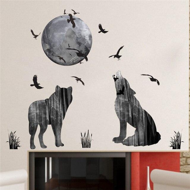 Foresta luna lupo adesivi murali materiale pvc uccelli della
