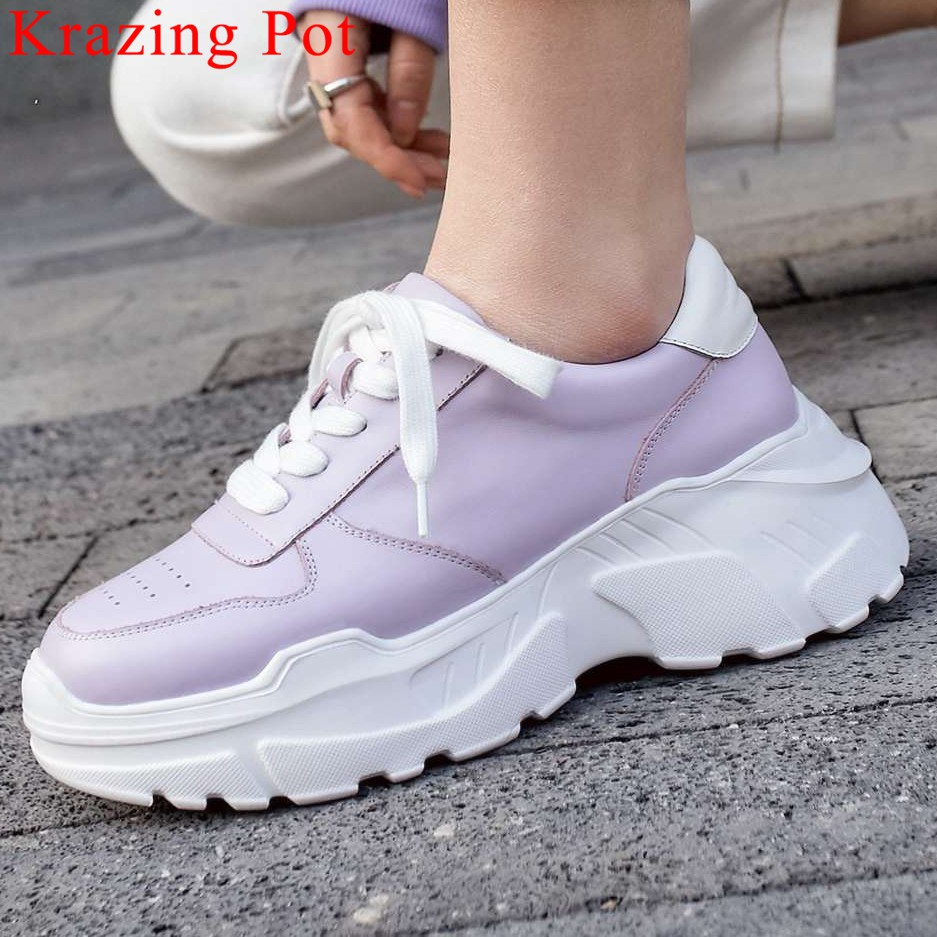 2019 concise full grain leather round toe thick high bottom platform running sneakers casual wear lace