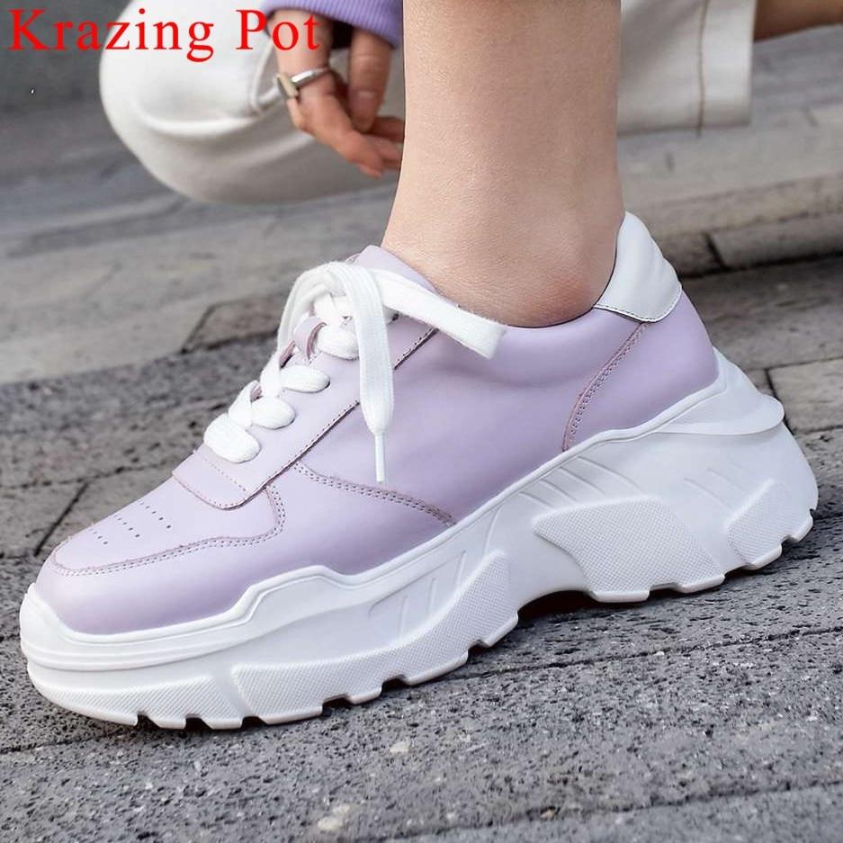 Ayakk.'ten Vulkanize Kadın Ayakkabıları'de 2019 muhtasar tam tahıl deri yuvarlak ayak kalın yüksek alt platform koşu ayakkabıları gündelik giyim lace up vulkanize ayakkabı L7f2'da  Grup 1