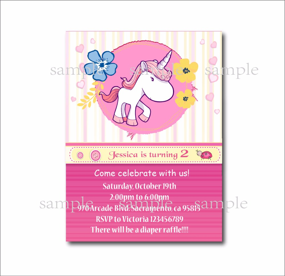 20 pcs/lot Personalized Unicorn Birthday invitations Girls Baby ...