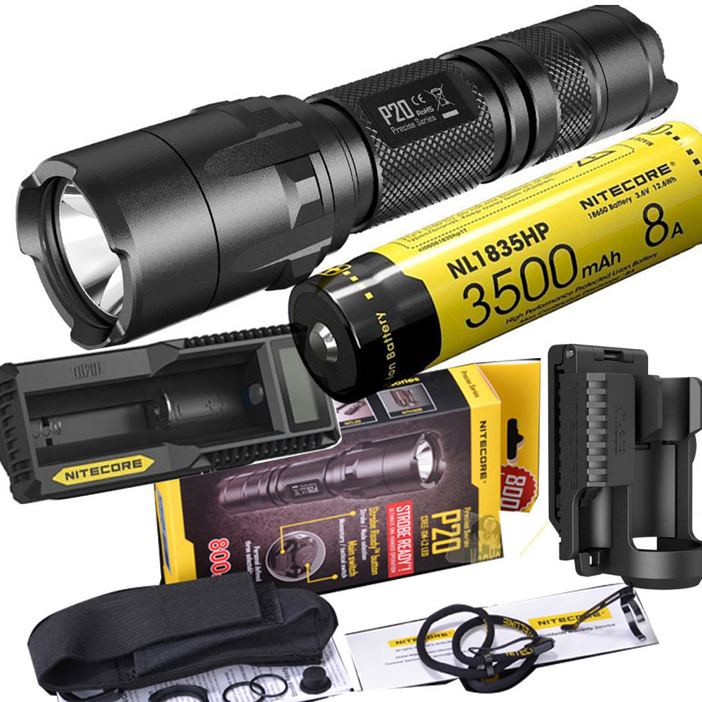 NITECORE P20 Flashlight CREE XM-L2 (U2) LED max. 800LM beam Dual-switch tail LED torch for outdoor sports +NITECORE NTH30B nitecore p20 flashlight cree xm l2 u2 led max 800lm led torch for outdoor sports 3500mah 18650 battery and um10 charger