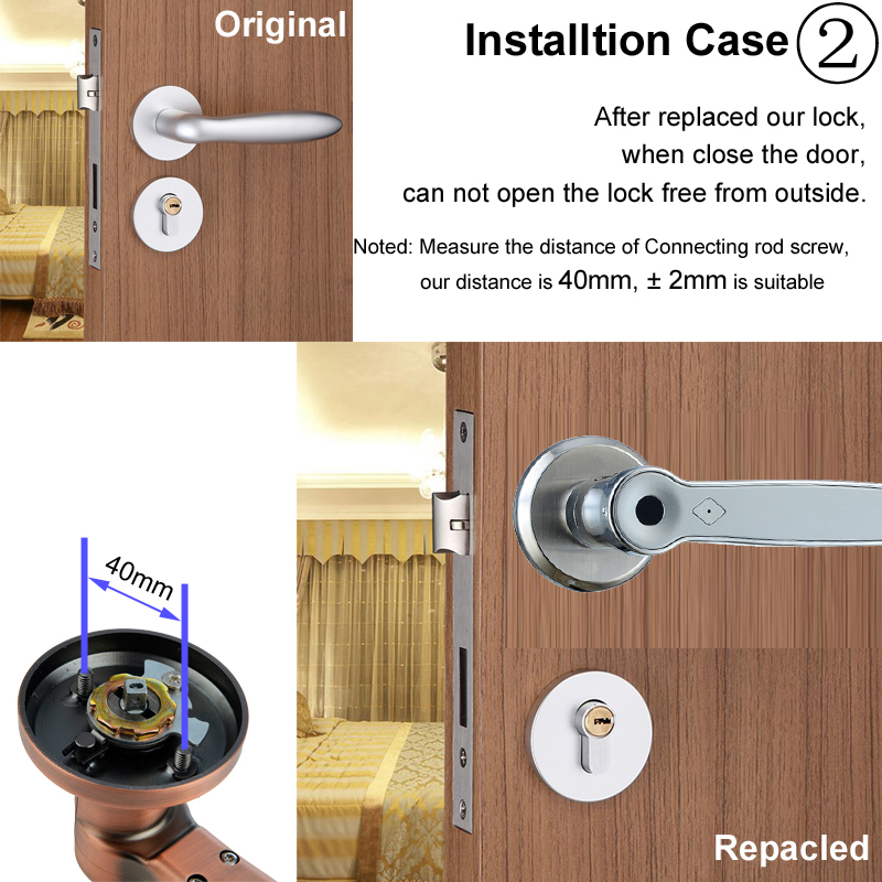 Image 4 - RAYKUBE Biometric Fingerprint Lock Smart 13.56Mhz IC Card Knob Deadbolt Keyless Electronic Door Lock For Home Office R S158-in Electric Lock from Security & Protection