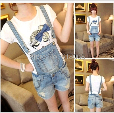 New Fashion Women's Cowboy Shoes for 2016 Summer Korean Style Loose Straight Detachable Straps Denim Overalls Jumpsuits S~XXL