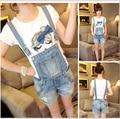 Sapatos de Cowboy para 2016 Verão das Mulheres novas da Moda Coreano Estilo Solto Em Linha Reta Alças Destacáveis Macacão Jeans Macacões S ~ XXL