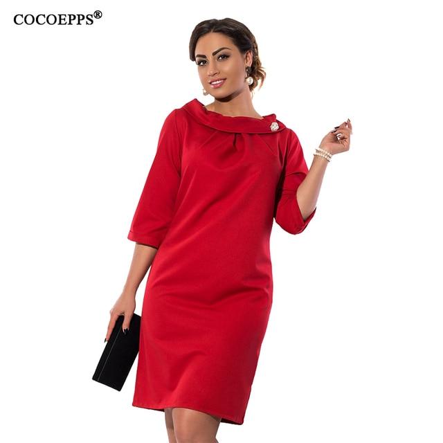 Cocoepps 2017 элегантных женщин платья больших размеров случайные свободные половина рукава dress негабаритных плюс размер женская одежда mini dress