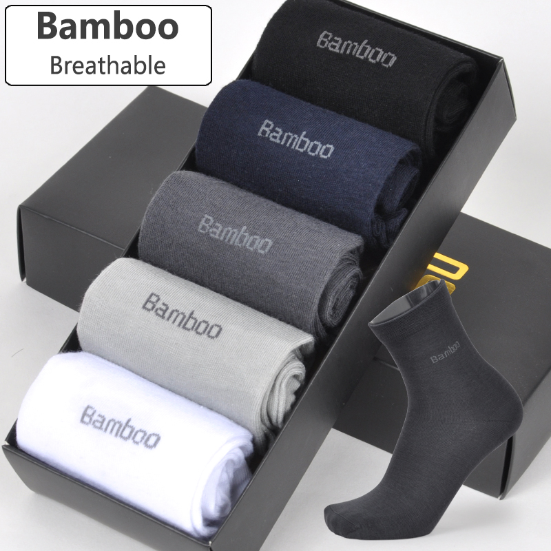 2018 Men Bamboo Socks Breathable Deodorant Comfortable Anti-Bacterial Casual Business Man Long Socks (5pairs / lot)