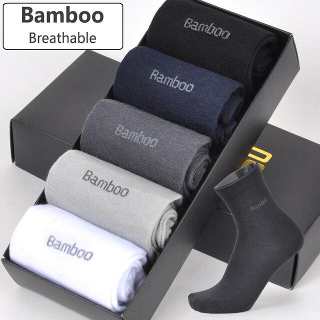 2018 Men Bamboo Socks Breathable Deodorant Comfortable Anti Bacterial Casual Business Man Long Socks (5pairs / lot)