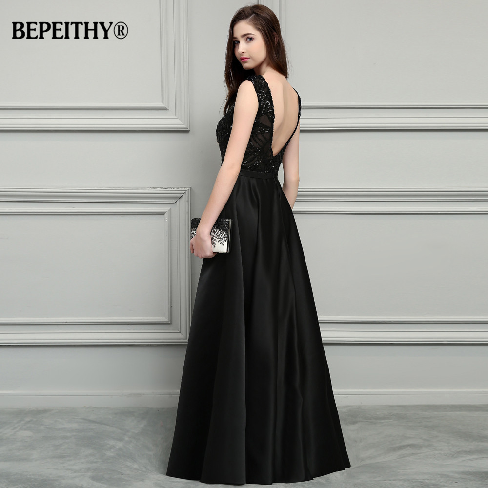 BEPEITHY Sexy Backless Black Long Evening Dress 2019 Vestido De Festa New  Bridal Satin Prom Dresses With Belt Hot Sale-in Prom Dresses from Weddings  ... fc94aa7ba824