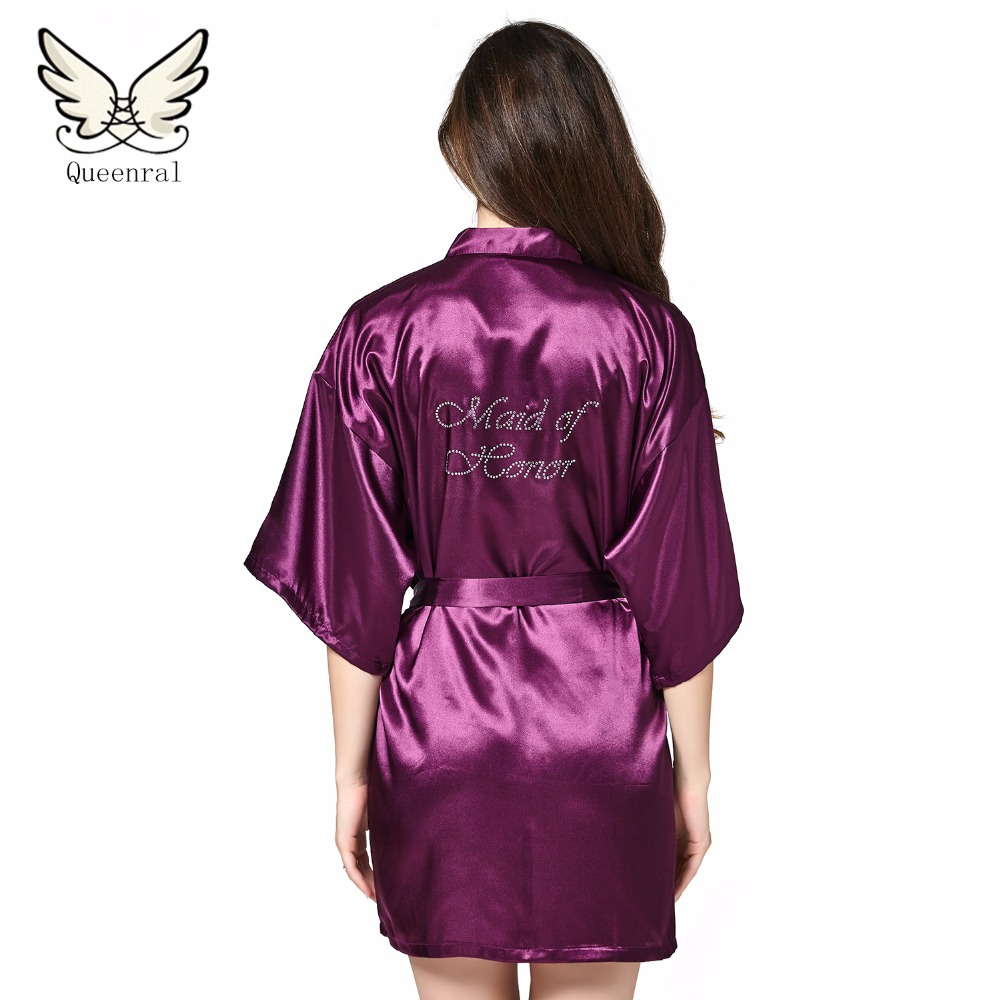 Queenral seda dama traje de novia sexy mujeres corto satén kimono ...