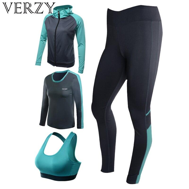 Nuovo di Yoga delle Donne Set 4 pz Palestra Push Up Per Le Donne Cappotto e Camicette & Bra & Leggings Esercizio quick Dry Traspirante Abbigliamento Sportivo Fitness Solid