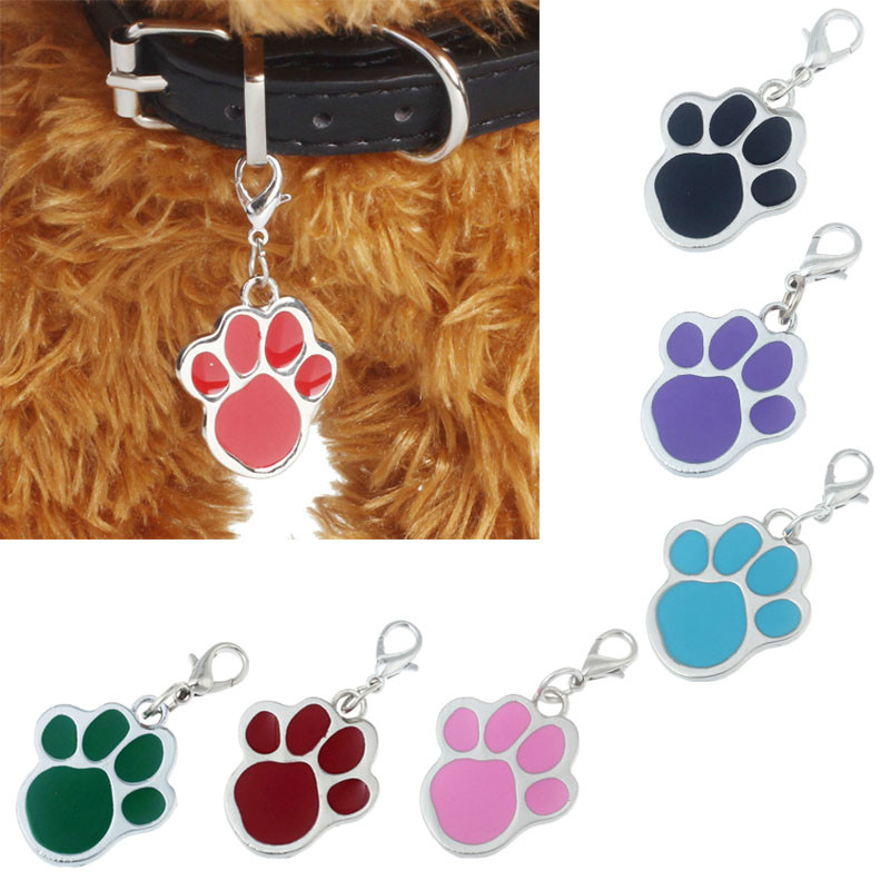 Dog Tags Candy Colors Footprints Puppy Rhinestone Popular Pendant Lovely Pet Jewelry Dog Supplies Accesorios Para Mascotas