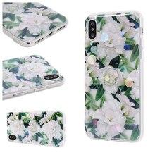 Retro Floral clear phone case for iPhone XS MAX glitter case iPhone 8 iPhone X transparent case 6 6s Plus 7 Plus 8 Plus XS XR