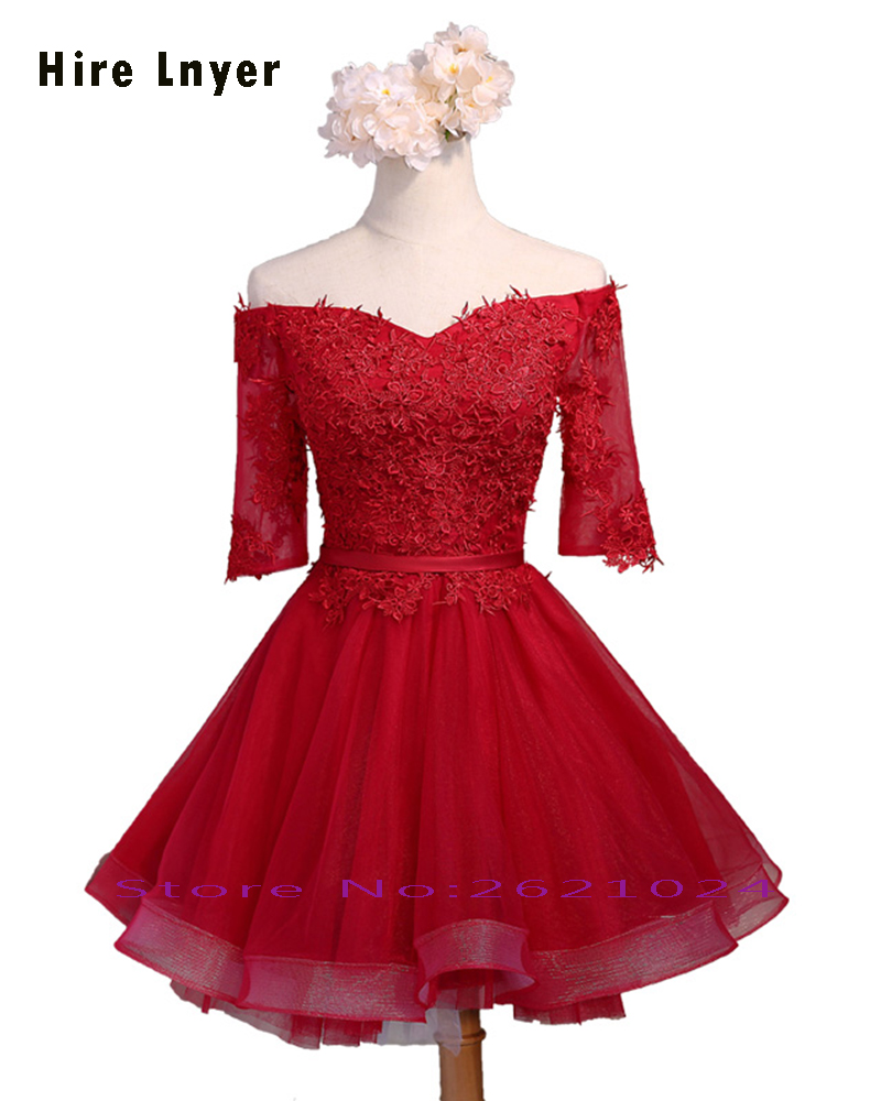 Najowpjg Custom Made Off The Shoulder Three Quarter Sleeve Lace Up Appliques Red Tulle Above Knee Mini Bridesmaid Dresses 2019