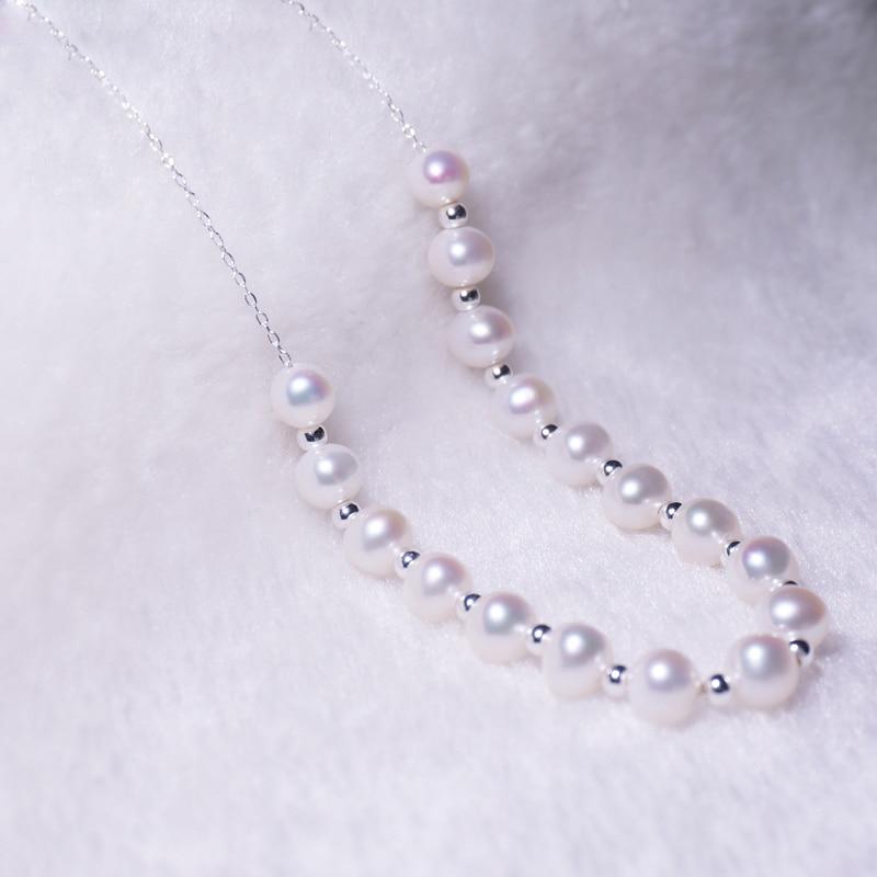 RUNZHUQIYUAN 2017 100% perle d'eau douce naturelle long collier 90 cm 7-8mm perle 925 bijoux en argent sterling pour les femmes meilleurs cadeaux