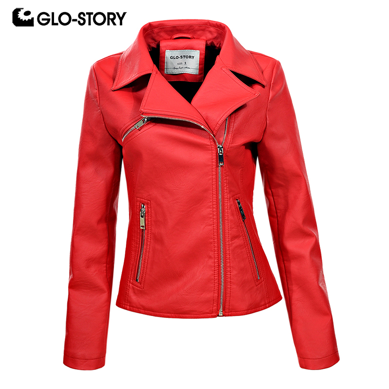 GLO-STORY Woman 2018 Faux Leather Jackets Women Motor Biker Red Jacket Coat Jaqueta Couro Feminina WPY-6095